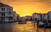 Venice Cityscape At Sunset, Italy. Panorama Of Grand Canal With Vaporetto In Evening. Urban Landscap poster