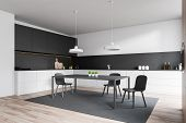 White And Gray Kitchen Corner With Table poster