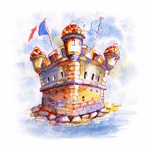 Watercolor Sketch Of Old Bastion Fort On The Seashore In Menton, Perle De La France, French Riviera, poster
