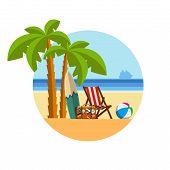 Holidays On The Sea Under The Palm Trees On A Sun Lounger. Holidays On Tropical Beach. Seaside Vacat poster