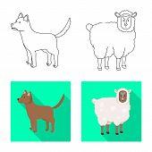 Vector Design Of Breeding And Kitchen Logo. Set Of Breeding And Organic Vector Icon For Stock. poster