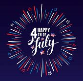 Happy 4th Of July Independence Day Usa  Handwritten Phrase With Stars, American Flag And Firework Is poster