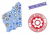 Workshop Vector Western Australia Map Mosaic And Seals. Abstract Western Australia Map Is Formed Wit poster