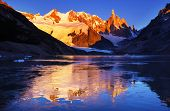Famous beautiful peak Cerro Torre in Patagonia mountains, Argentina. Beautiful mountains landscapes  poster