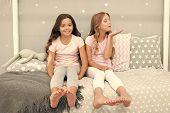 Childhood Friendship Concept. Girls Best Friends Sleepover Domestic Party. Girlish Leisure. Sleepove poster