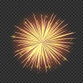 Festive Fireworks With Bright Golden Sparks. Realistic Single Firework Flash Isolated On Transparent poster