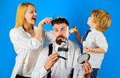 Barbershop. Barber Shop Tools. Hairdresser Making Hairstyle. Beard Care. Hair Preparation. Bearded H poster