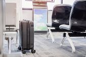 Suitcases At Airport Departure Lounge Traveler In Airplane Terminal Background,traveling Baggage In  poster