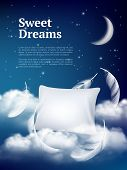 Night Dream Pillow. Advertizing Poster With Pillows Clouds And Feathers Comfortable Space Vector Rea poster