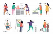Female Hobbies Vector. Artist, Singer, Potter Woman Characters Vector Illustrations. Craft Hobby, Pa poster