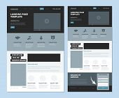 Landing Wireframe. Internet Web Page Ui Template Menu Navigation Video Gallery And Footer Informatio poster