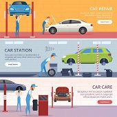 Car Service Banners. Mechanic Workshop Repair Auto Vector Advertising Banners. Illustration Of Mecha poster