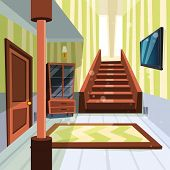 House Interior. Apartment Light Room Hallway With Staircase And Storage Room Vector Cartoon Illustra poster
