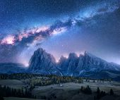 Colorful Milky Way Over Beautiful Mauntains At Night. Autumn Landscape With Mountains, Sky With Star poster