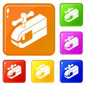 Clamping Machine Icons Set Collection Vector 6 Color Isolated On White Background poster