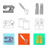 Vector Illustration Of Craft And Handcraft Icon. Set Of Craft And Industry Stock Vector Illustration poster