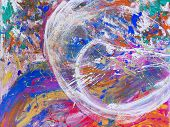 Picture, Abstract Painted Canvas As Multicolor Background. Multicolor Abstract Background Of Varicol poster