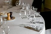 Beautiful Table Setting With Crockery For A Party, Wedding Reception Or Other Festive Event. Empty G poster