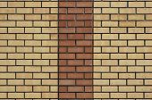 Red Yellow Wall Background. Old Grungy Brick Wall Horizontal Texture. Brickwall Backdrop. Stonewall  poster