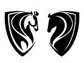Simple Horse Head Inside Heraldic Shield - Black And White Equine Emblem Vector Design poster