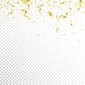 Streamers And Confetti. Gold Tinsel And Foil Ribbons. Confetti Gradient On White Transparent Backgro poster