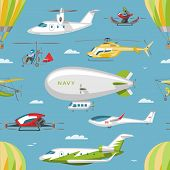 Helicopter Vector Copter Aircraft Or Rotor Plane And Chopper Jet Flight Transportation In Sky Illust poster