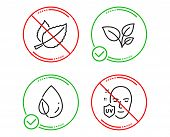 Do Or Stop. Leaves, Leaf Dew And Mint Leaves Icons Simple Set. Uv Protection Sign. Grow Plant, Water poster
