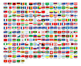 pic of flags world  - 257 World flags countrys alphabetically ordered over white background - JPG
