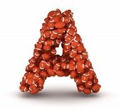 foto of ncaa  - Letter A making from american football balls - JPG