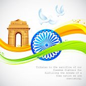 pic of ashok  - illustration of India Gate and Ashok Chakra with wavy Indian flag - JPG