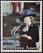ABKHAZIA - CIRCA 2000 : Stamp printed in Abkhazia showsportrait Margaret Hilda Thatcher Iron Lady ci