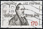 a stamp printed in Germany shows Friedrich List Economist and Original European Unity Theorist