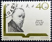 POLAND - CIRCA 1969: A stamp printed in Poland shows polish writer Leopold Staff circa 1969