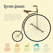 Retro Illustration vintage  Bicycle. Vector template.