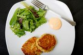 picture of crab-cakes  - Fresh crab cakes on a white plate with sauce and a salad of field greens - JPG