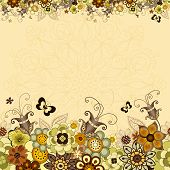 picture of lilas  - Vintage floral frame with colorful flowers and butterflies  - JPG