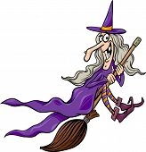 Witch On Broom Cartoon Illustration