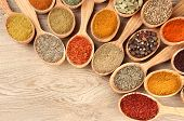 pic of cumin  - Assortment of spices in wooden spoons on wooden background - JPG