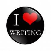 stock photo of compose  - I Love Writing button A black and red button with words I love Writing isolated on a white background - JPG