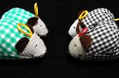 picture of field mouse  - Toy Mouse Made of Cotton Cloth on a Black Background  - JPG