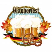 Woody Frame Oktoberfest Celebration Design With Beer And Pretzel