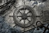 stock photo of steers  - Vintage navigation background illustration with steering wheel charts anchor chains - JPG