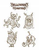 stock photo of puke  - Halloween Monsters spooky hand drawn creatures set - JPG