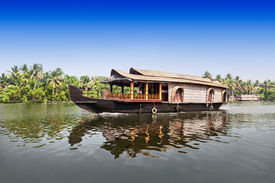 pic of alleppey  - Beauty boat in the backwaters Kerala India - JPG