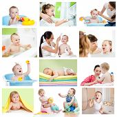 stock photo of bathing  - Collection of babies or kids at bath - JPG
