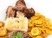 pic of cassava  - Deep fried pork yukka or cassava plus congri rice all with salty green banana fries - JPG