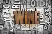 foto of wine-press  - The word WINE written in vintage letterpress type - JPG