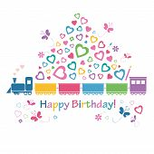 cute happy birthday train greeting card
