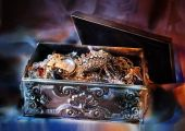 stock photo of treasure chest  - Jewelry silver box at night - JPG