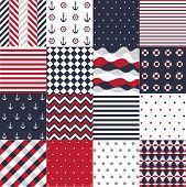 stock photo of rudder  - Seamless pattern with nautical elements - JPG
